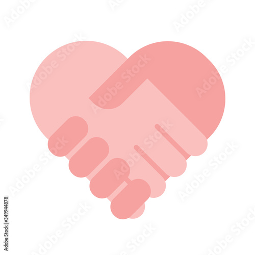 Fotografía Charity help concept, flat holding hands heart sign vector illustration