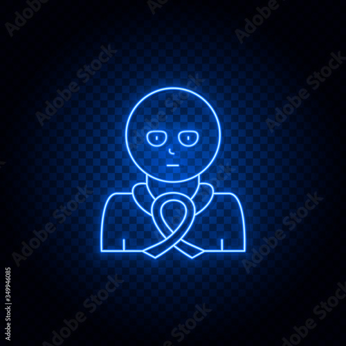 Censer, ribbon blue neon vector icon Canvas Print