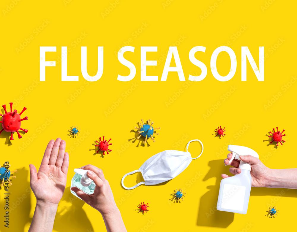 Fototapeta Flu Season Coronavirus theme with hygiene and viral objects