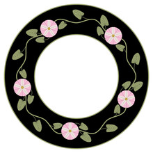 Isolated Vector Illustration. Round Floral Decor Or Texture. Wreath Of Bindweed Or Morning Glory Flowers.