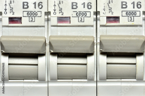 Photo Switches of modern circuit breakers designed for socket circuit to 16 amps max