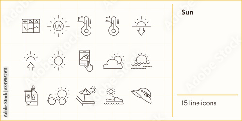 Obraz Sun line icon set. Weather, sunscreen, forecast. Vacation concept. Can be used for topics like resort, protection, sunbathing - fototapety do salonu