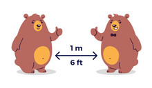 Social Distancing And Coronavirus COVID-19 Prevention. Keep The Safe Distance 1-2 Meter / 6 Feet In Public Places - Cartoon Vector Graphics With Two Happy Smiling Bears - Children Illustration