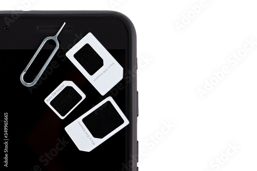 SIM card adapter with contact for mini, nano and micro SIM cards Wallpaper Mural