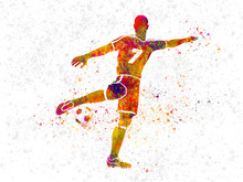 Soccer Player In Watercolor