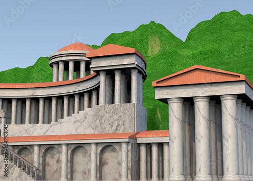 Stampa su Tela Temple of the Goddess Fortuna Primigenea - Palestrina  - 3D