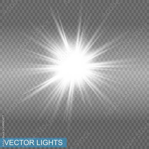 Fototapeta White glowing light explodes on a transparent background. Sparkling magical dust particles. Bright Star. Transparent shining sun, bright flash. Vector sparkles. To center a bright flash obraz na płótnie