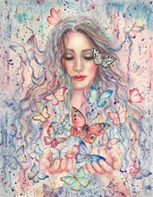 Watercolor Beautiful Woman And...