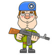 Soldier In A Beret And A Machine Gun Illustration On A White Background