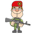 Soldier In A Red Beret. Cartoon Soldier Red Beret Vector For Web Design Isolated On White Background