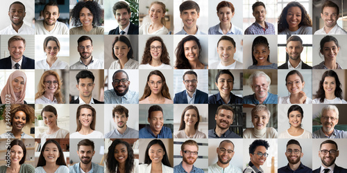 Many happy diverse ethnicity different young and old people group headshots in collage mosaic collection. Lot of smiling multicultural faces looking at camera. Human resource society database concept. - 349988072