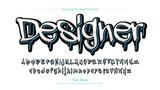 Fototapeta Młodzieżowe - Blue and White Graffiti Text Graphic Style