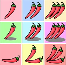 Bright Red Mexican Chili Pepper, Slightly Curled And With A Green Stem One Two Three Set With Shadows And Different Position