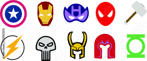 Fotomural set of marvel superhero vector icons in color