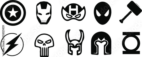 Cuadros en Lienzo set of marvel superhero vector icons in BW