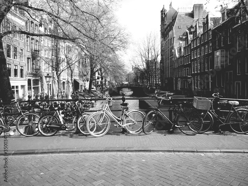 Bicycles On Bridge In Amsterdam #350034871