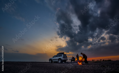 Adventures Camping tourism and tent and car next to the lake. Landscape outdoor in morning #350035269