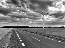 Wind Turbines Along Country Road