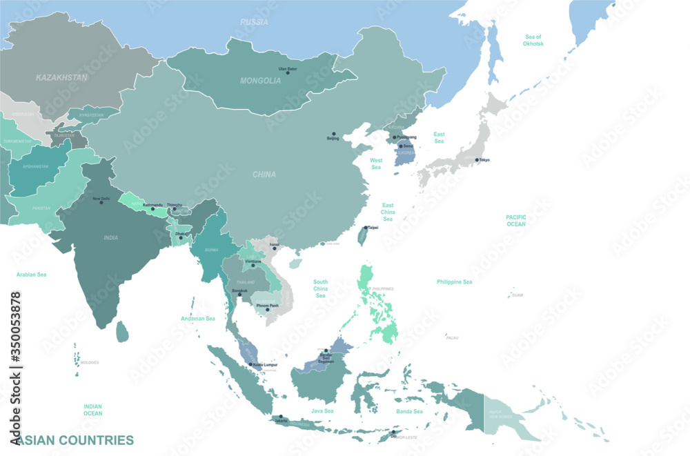 Fototapeta asia map. detailed vector map of asian countries.