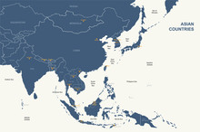 Asia Map. Detailed Vector Map ...