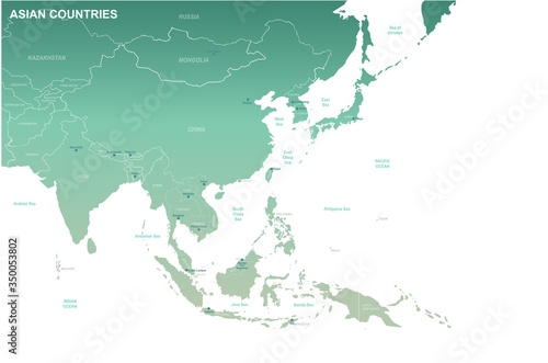 Photo asia map. detailed vector map of asian countries.
