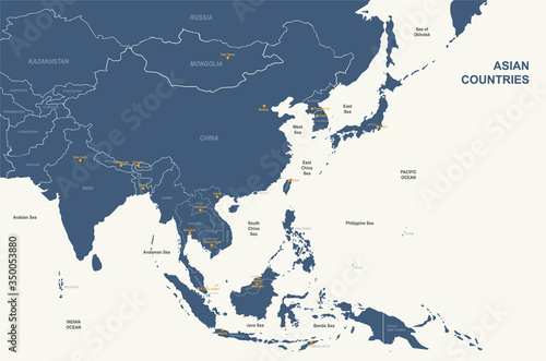 Fototapeta asia map. detailed vector map of asian countries. obraz
