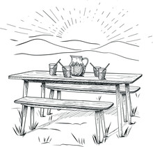 Vector Hand Drawn Table With Drinks In The Kitchen.