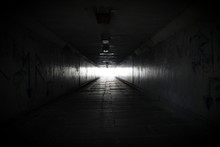 Dark Tunnel With Light At End