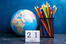 April 21 On The Wooden Calendar.The Twenty-first Day Of The Spring Month, A Calendar For The Workplace. Spring