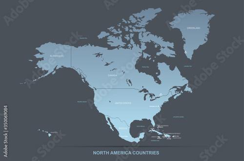 north america map. vector map of north america countries. Slika na platnu