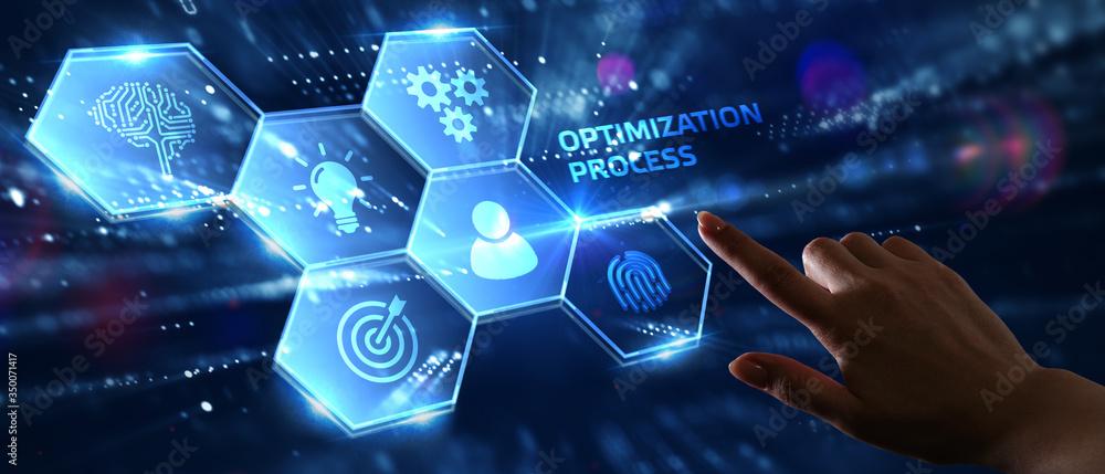 Fototapeta Optimization Software Technology Process System Business concept. Business, Technology, Internet and network concept.
