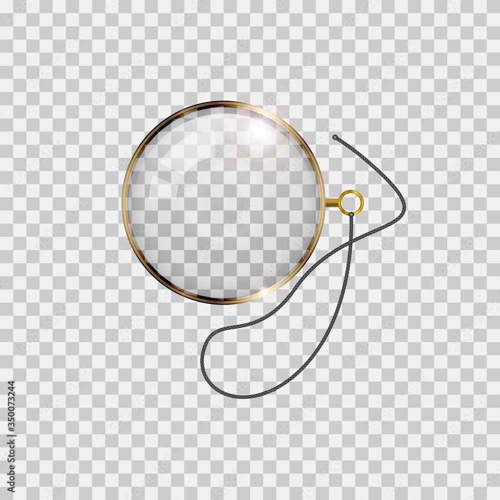 Fototapeta Golden monocle with lace isolated on checkered transparent background. Realistic vector illustration.
