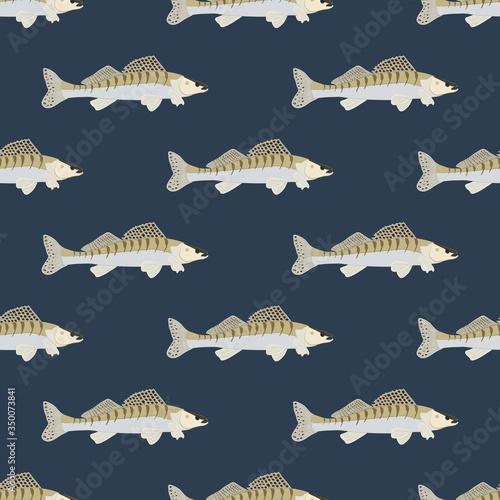 Zander fish wild nderwater predator seamless pattern Canvas Print