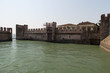 Reconstruction of Scaliger Castle fortification walls, Sirmione, Lombardy, Italy.