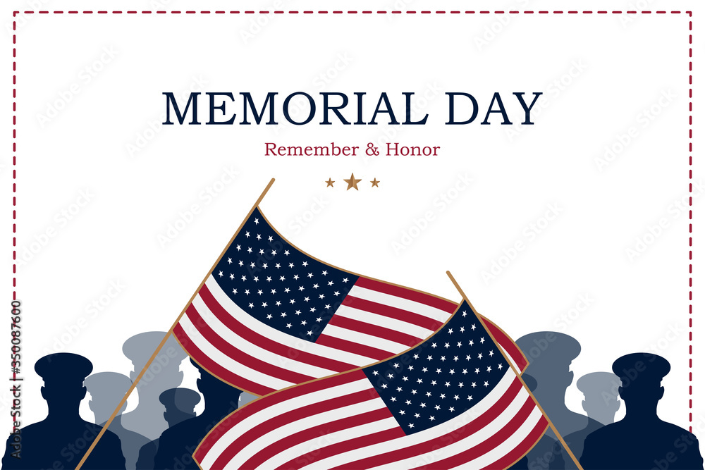 Fototapeta Happy Memorial Day. Greeting card with USA flag and silhouette soldiers on background. National American holiday event. Flat vector illustration EPS10