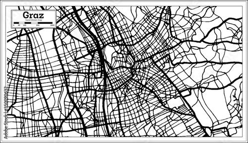 Fotografie, Obraz Graz Austria City Map in Black and White Color in Retro Style