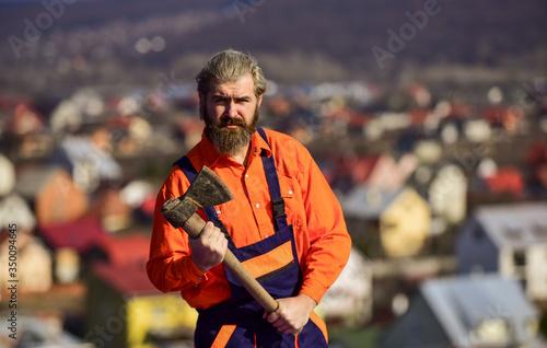 Vászonkép Man in uniform hold ax