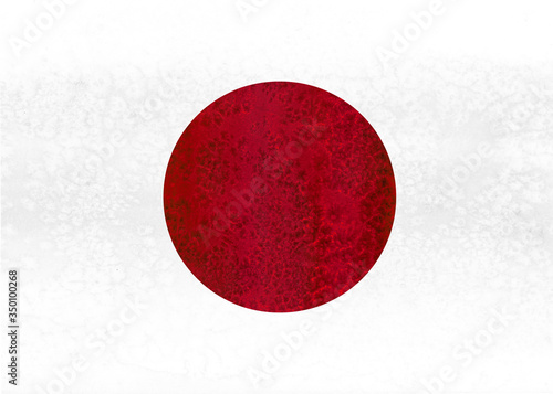 Watercolor japanese flag illustration. Japan. #350100268
