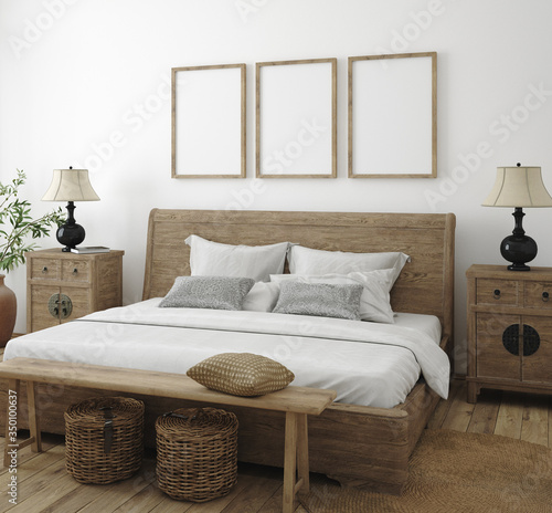 Obraz Mockup frame in bedroom interior background, Farmhouse style, 3d render - fototapety do salonu