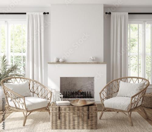 Obraz Scandinavian farmhouse living room interior, wall mockup, 3d render - fototapety do salonu
