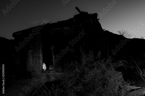 Doll On Doorway Of Abandoned Wooden House In Ironwood Forest National Monument Fototapet