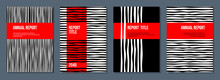 Black And White Stripes With Red Ribbon, Flat Vector Report Cover Template