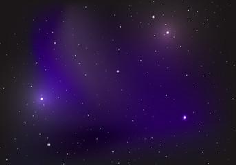 Night starry sky, blue shining space.