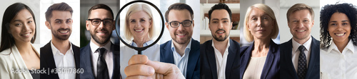 Older professional job opportunity concept. Hr manager holding magnifying glass in hand finding new company recruit middle aged female candidate face headshot. Horizontal banner for website design.