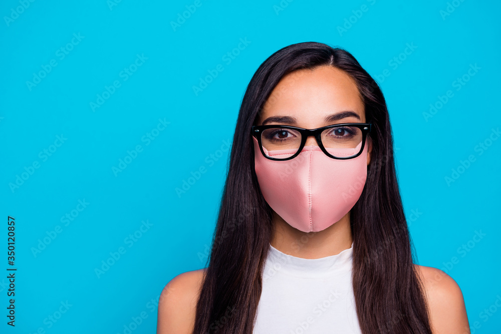 Fototapeta Closeup photo of pretty business lady ready for work quarantine time use respiratory safety mask wear specs nice white tank top isolated blue color background
