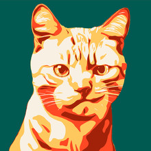Illustration Of A Cat In Pop Art
