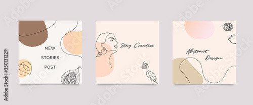 Obraz Instagram post template. Design backgrounds for social media stories, Photo frame template and sale  banner. Memphis design cover. Abstract shape with  earth tone color. Vector  illustration - fototapety do salonu