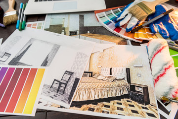 All for house creative workday color swatch and notebook house sketch paint brush. Architecture decoration concept