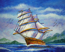 Art Painting Oil Color  Boat  Barque In Sea From Thailand