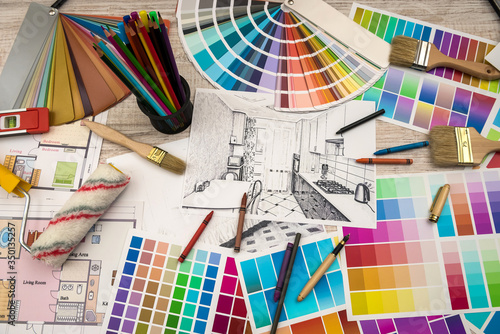 architect work - drawing sketch plans blueprints with color palette for help Canvas